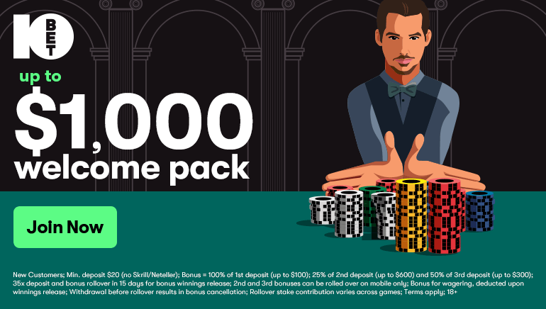 10Bet Welcomes Players With $1,000 Bonus