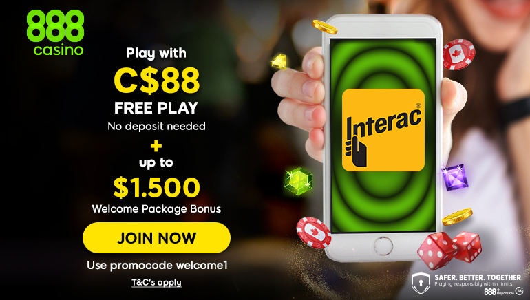 Get a great welcome bonus over at 888 Casino worth C$1500!