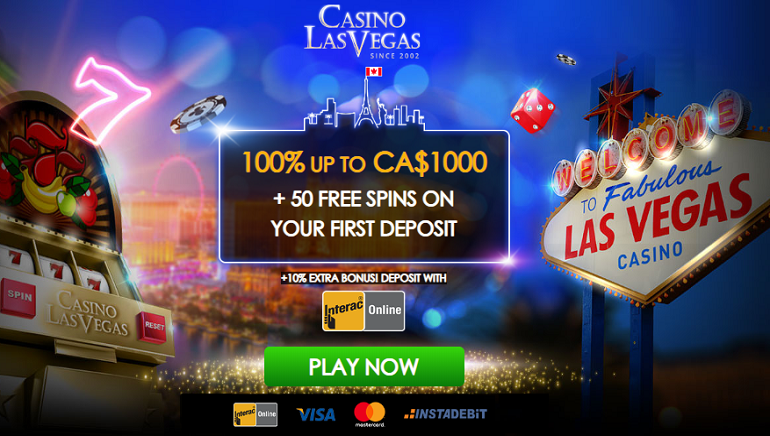 CA$ 1,000 Welcome Bonus at Casino Las Vegas + 10% Extra if You Use Interac